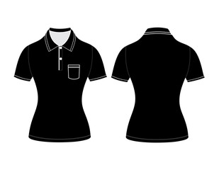 polo woman shirt design templates (front and back views). Vector
