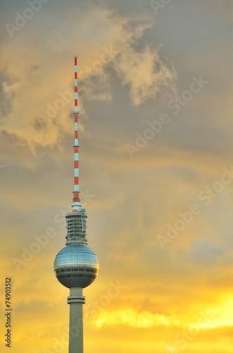 canvas print picture Fernsehturm Berlin Sunset