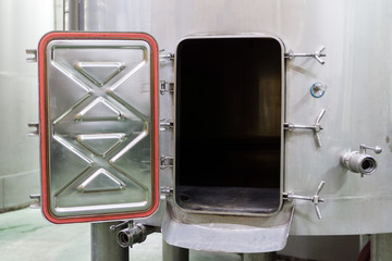 Wine Making Equipment, view of open aluminium tank