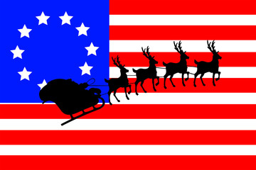 American Flag With a Silhouette of Santas Sleigh and Reindeer