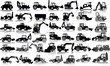 Set of 41 silhouettes of a tractors of road service - 74904535