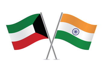 Kuwait and Indian flags. Vector illustration.