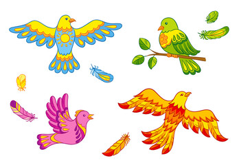 Fantasy vector birds and feathers
