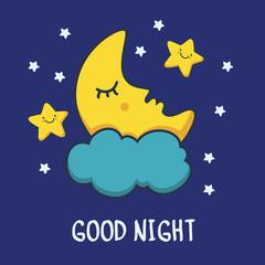 Funny sketching sleeping moon and smiling stars. Vector cartoon