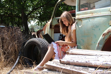 country girl with a laptop