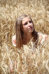 country girl in the wheat field