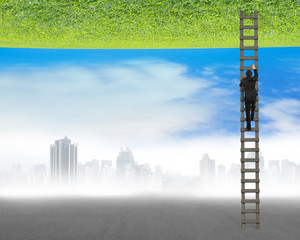businessman climbing on ladder between two inverted world