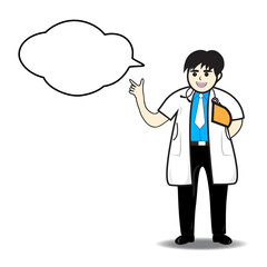 Vector illustration of Doctor man thinking