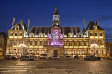 Illuminated town hall of Reims