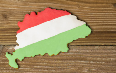 Map of Hungary made from gingerbread