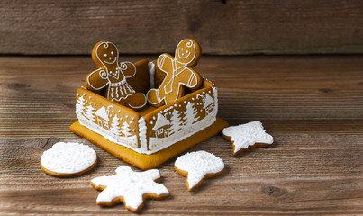 Gingerbread box with shapes and decoration