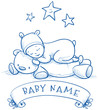 Baby shower. Cute Baby sleeping in bear costume, baby name above