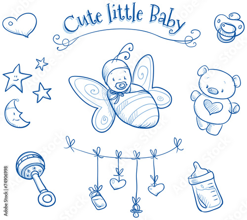Baby shower. Cute Baby in butterfly costume, icons, hand drawn - 74906998