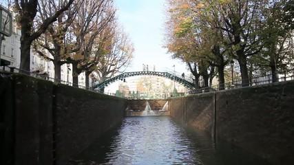 Navigation in Saint Martin canal, Paris, France.