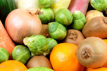 close up of a fruit and vegetable basket