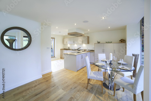 Interior View Of Beautiful Luxury Dining Room And Kitchen Poster