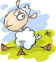 white sheep sitting on green grass - funny illustration