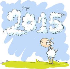 cute sheep looking at sky - funny illustration