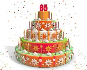 Feestelijke gekleurde taart met cijfer 65