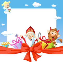 saint nicholas frame - funny vector background illustration