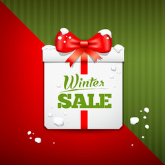 Merry Christmas gift box winter sale design