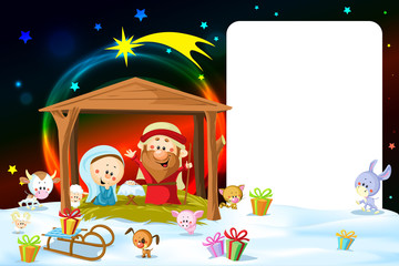 christmas frame - nativity with lights and cute animals