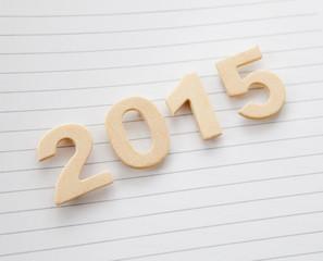 2015 chiffres sur feuille lignée
