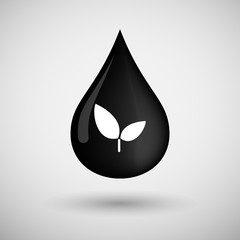 Oil drop icon with a plant