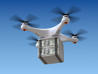 Quadrocopter drone with the money