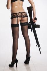 Girl and rifle