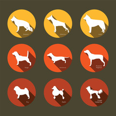 Set of flat icons with dog's silhouettes