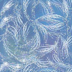 Snowy, gleaming, shining frozen pattern on blue window