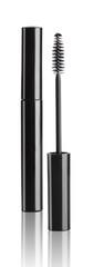 Black mascara with eyelash brush isolated on white