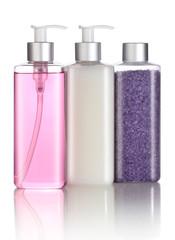 Set of bath salt, shampoo and liquid soap isolated