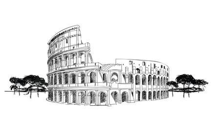 Colosseum in Rome, Italy. Landmark Coliseum, city landscape.