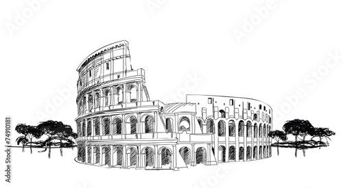 Leinwanddruck Bild Colosseum in Rome, Italy. Landmark Coliseum, city landscape.