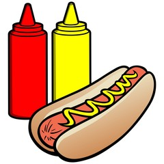 Hot Dog and Condiments