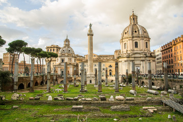 Fori Imperiali, foro di Traiano al tramonto - Roma