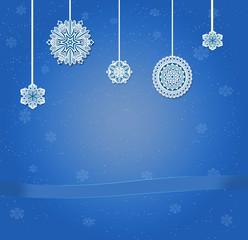 Сини фон со снежинками