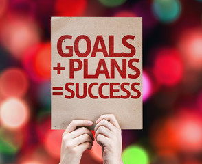 Goals + Plans = Success card with colorful background