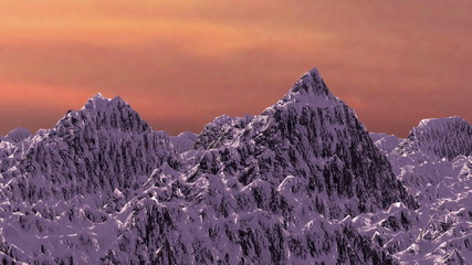 Animated view of winter mountains at sunset