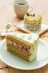 Japanese Matcha Green tea cake, coffee and cake