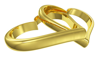 Couple of lying chained golden hearts diagonal