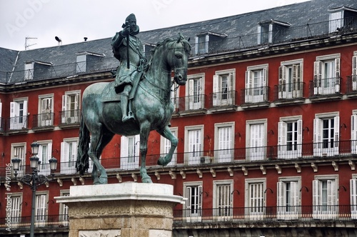 Statue at Plaza Mayor in Madrid