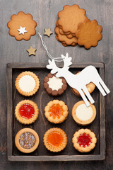 Cookies  in wooden box and Christmas decorations