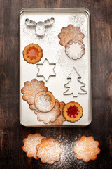 Christmas cookies and  cookies  cutters. Christmas baking