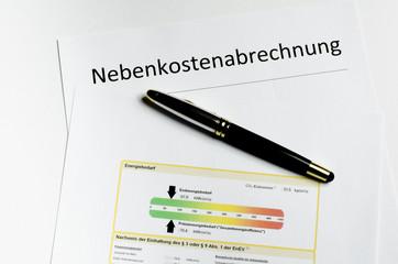 Nebenkostenabrechnung Deckblatt mit Energielabel und Füller