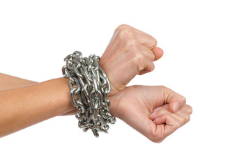 Woman's hands chained together