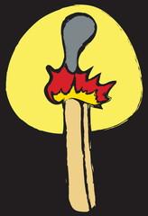 cartoon grunge burning match