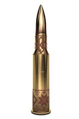 bullet with ethnic Ukraine pattern on white background